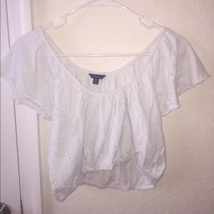 White, off the shoulder, crop top